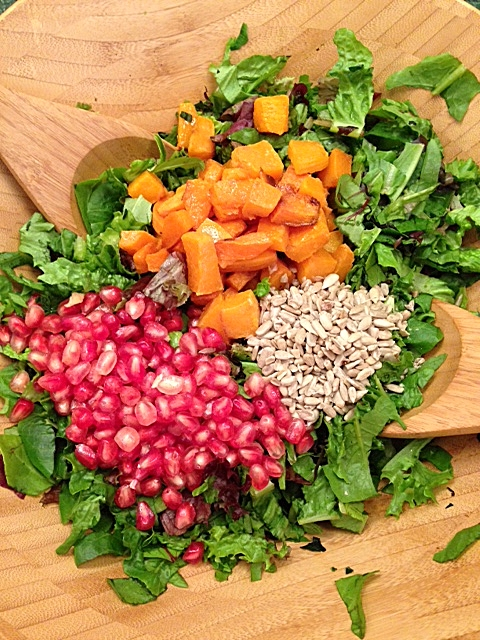 Holiday Salad with Butternut Squash and Pomegranate